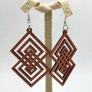 Evie Geometric Wood Laser Cut Earrings